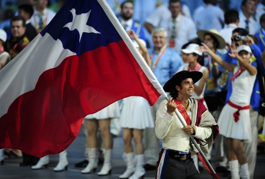 Chile's Olympic flag-bearer Fernando Gonzalez hold's her country's national flag during the opening ceremony of the Beijing 2008 Olympic Games at the National Stadium