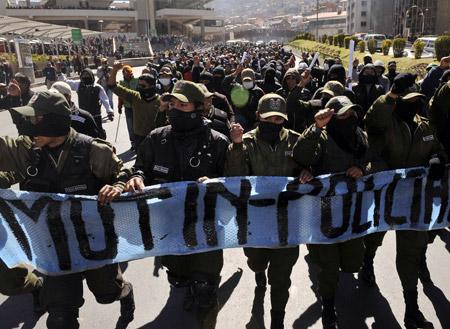 Policías amotinados en Bolivia