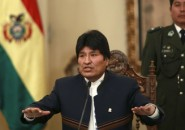 Bolivia's President Evo Morales speaks during a news conference at th
