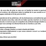 Luis Suárez se disculpa vía Twitter con jugador italiano al que mordió