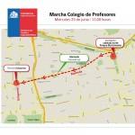 Desvíos en la Alameda por marcha del Colegio de Profesores
