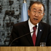 United Nations (UN) Secretary-General Ban Ki-Moon delivers a statemen