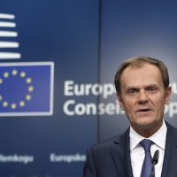 EU Council President Tusk addresses a news conference following a EU leaders summit in Brussels