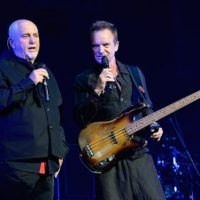 "COLUMBUS, OH - JUNE 21:  Peter Gabriel (L) and Sting perform on stage during the ""Rock, Paper, Scissors"" tour opener at Nationwide Arena on June 21, 2016 in Columbus, Ohio.  (Photo by Kevin Mazur/WireImage for Live Nation)"