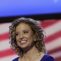 Democratic National Committee Chair, Rep. Debbie Wasserman Schultz, D-Fla., appears on the stage at the Democratic National Convention in Charlotte, N.C., on Sunday, Sept. 2, 2012. (AP Photo/Lynne Sladky)