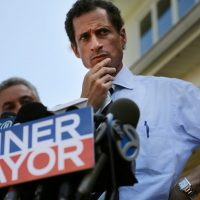 NEW YORK, NY - JULY 26:  Anthony Weiner, a leading candidate for New York City mayor, pauses while speaking with reporters in Staten Island on a visit to homes damaged by Hurricane Sandy on July 26, 2013 in New York City. It was recently revealed that Weiner engaged in lewd online conversations with a woman after he resigned from Congress for similar previous incidents.  (Photo by Spencer Platt/Getty Images)