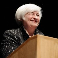Federal Reserve Chair Janet Yellen speaks on inflation dynamics and monetary policy at the University of Massachusetts, Thursday, Sept. 24, 2015, in Amherst, Mass. The talk comes one week after the central bank decided to keep interest rates at record low, in part because of persistently low inflation. (AP Photo/Jessica Hill) ORG XMIT: MAJH103
