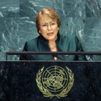 Chile's President Michelle Bachelet addresses the 64th United Nations General Assembly, at the U.N. headquarters in New York, September 23, 2009.   REUTERS/Mike Segar (UNITED STATES POLITICS)