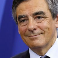 Candidate for the right-wing Les Republicains (LR) party primaries ahead of the 2017 presidential election and former French prime minister, Francois Fillon reacts at his campaign headquarters after finishing first of the first round of the rightwing presidential primary, on November 20, 2016 in Paris.  / AFP / POOL / Thomas SAMSON        (Photo credit should read THOMAS SAMSON/AFP/Getty Images)