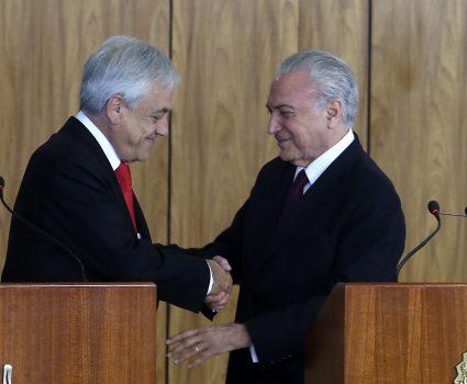 27 de Abril de 2018/BRASILIA El Presidente de la Repœblica, Sebasti‡n Pi–era, junto al Presidente de Brasil, Michel Temer, participa en una ceremonia de firma de acuerdos. FOTO:CRISTOBAL ESCOBAR/AGENCIAUNO