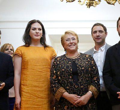 """El equipo de la película """"Una Mujer Fantástica"""", encabezado por la actriz Daniela Vega, realizó una conferencia de prensa para los medios luego de la reunión que sostuvieron con la Presidenta Michelle Bachelet."""