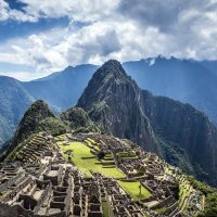 """Aerial view of Macchu Picchu ruins in remote landscape, Cusco, Peru"""