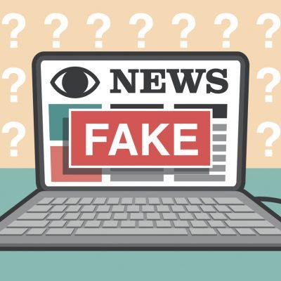 Fake News: Noticias falsas ilustración en computador