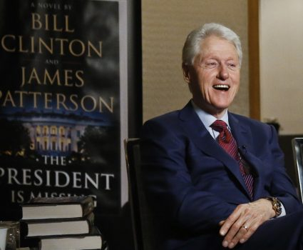 "In this Monday, May 21, 2018, photo, former President Bill Clinton speaks during an interview about a novel he wrote with James Patterson, ""The President is Missing,"" in New York. (AP Photo/Bebeto Matthews)"