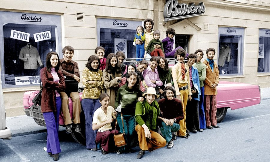 Osama bin Laden (second from right) on a visit to Falun, Sweden, in 1971. Photograph: Camera Press