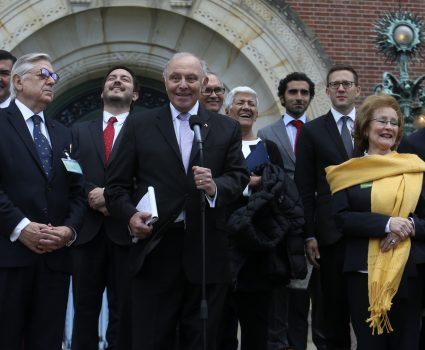 01 Octubre de 2018/L HAYA Agentes Chilenos hablan con la prensa al termino del fallo de la Corte Internacional de Justicia de la Haya. FOTO:CRISTOBAL ESCOBAR/AGENCIAUNO