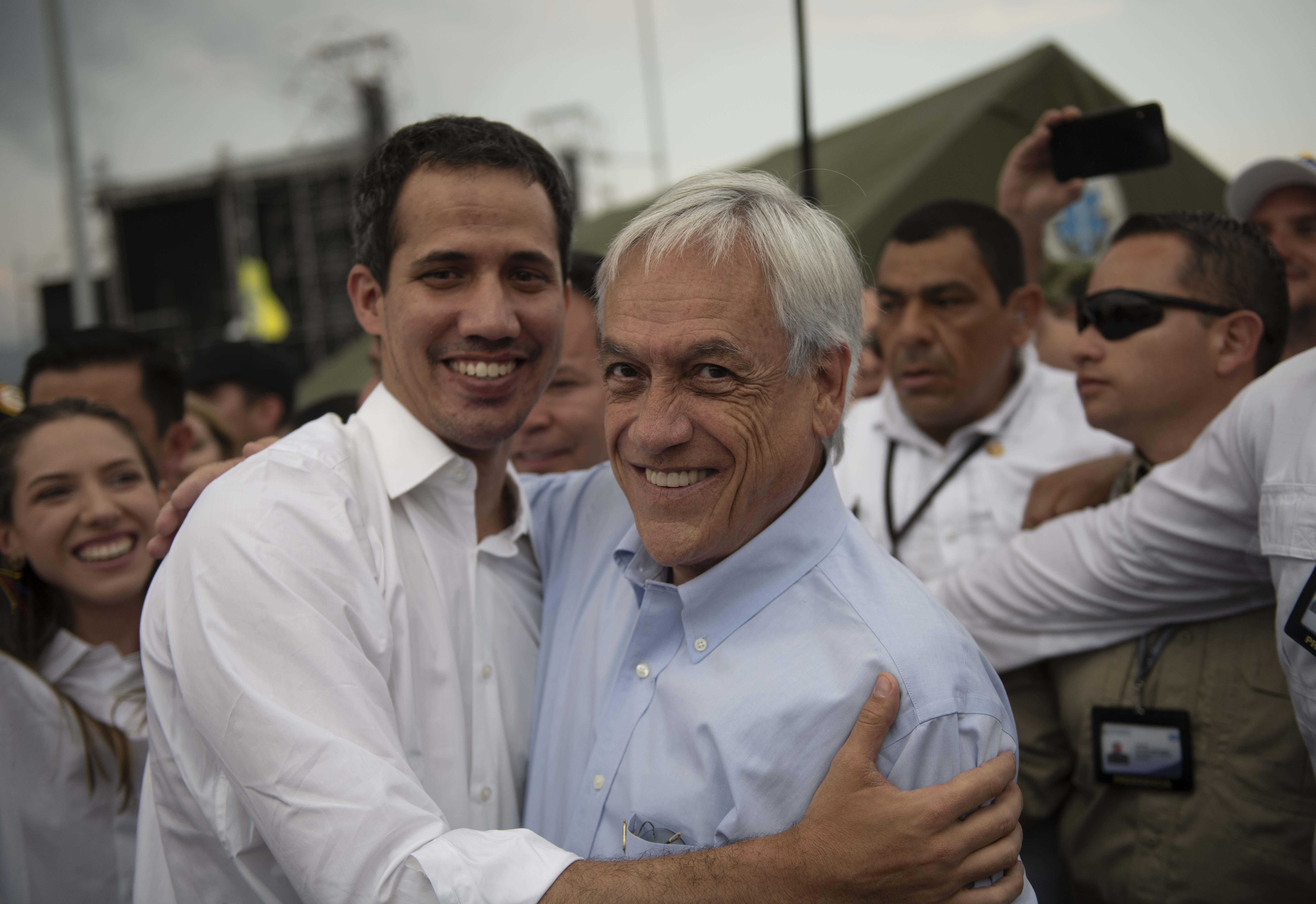 22 de FEBRERO del 2019/CÚCUTA El Presidente de la República, Sebastián Piñera, se reúne con el presidente encargado de Venezuela, Juan Guaidó, en su llegada a Cúcuta, para hacer entrega de la ayuda humanitaria. FOTO: PRESIDENCIA VIA AGENCIAUNO