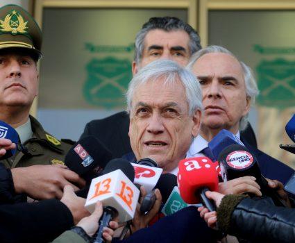 El presidente de la Republica llega al Hospital de Carabineros